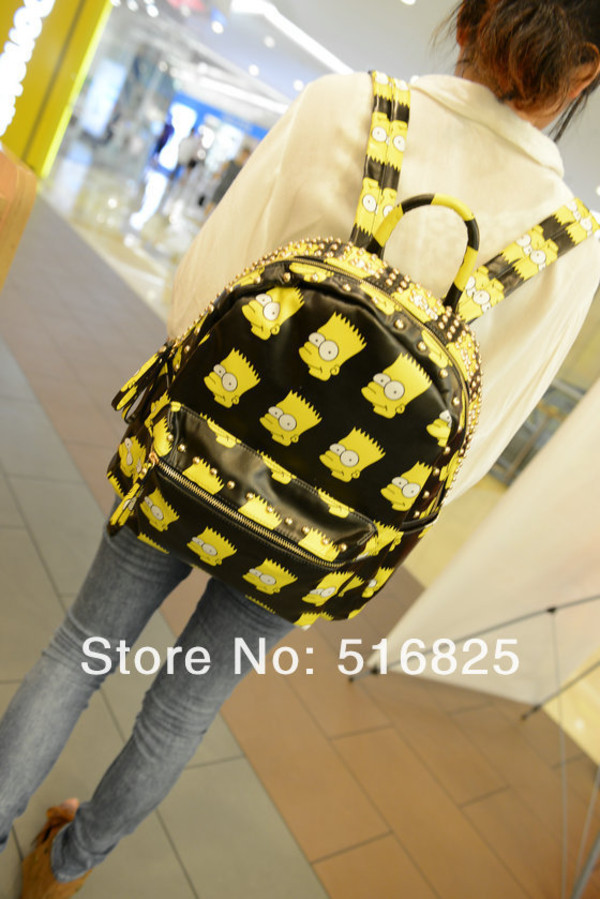 bag bart simpson the simpsons bart simpson yellow black bookbag backpack back to school