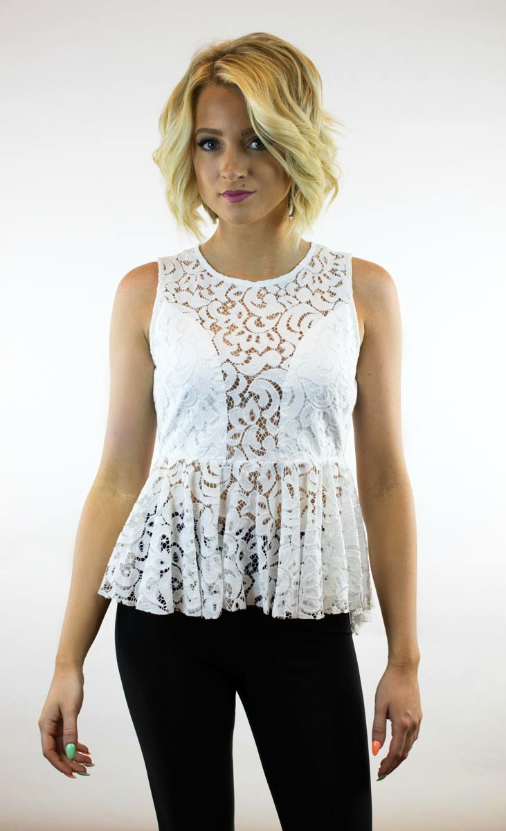 Do & Be | Lace The Day Peplum Top in White