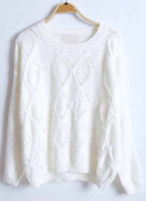 Long Sleeve Hollow Rhombus Pullovers Sweater - Sheinside.com