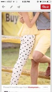 jeans,yellow,polka dots