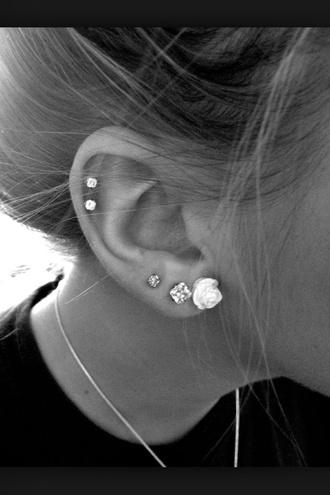 earphones piercings ears black and white
