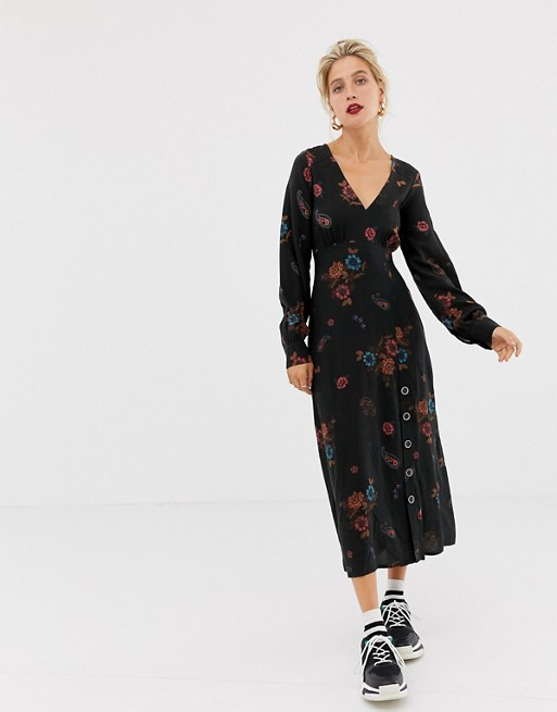 Stradivarius midi dress with dark floral print at asos.com