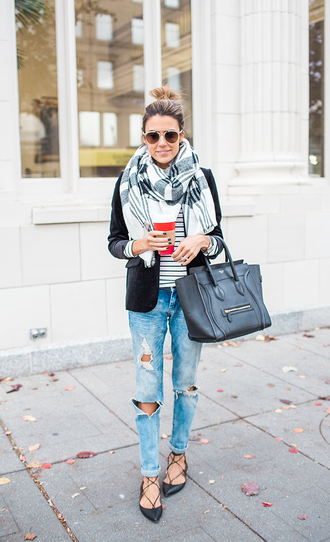 hello fashion blogger ripped jeans celine bag blanket scarf strappy flats
