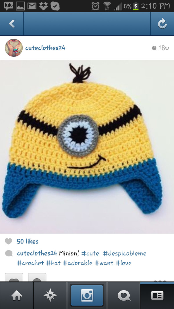hat knit disney minions kids fashion