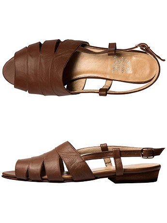 Leather Cut-Out Sling Back Sandal | American Apparel