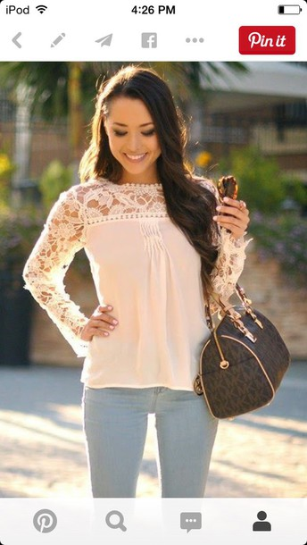 blouse peach lace thin