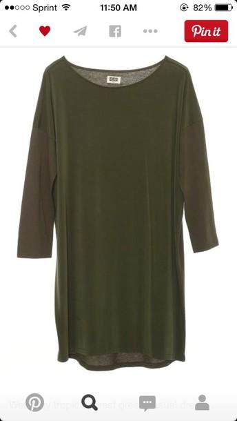 dress green dress casual long sleeve dress