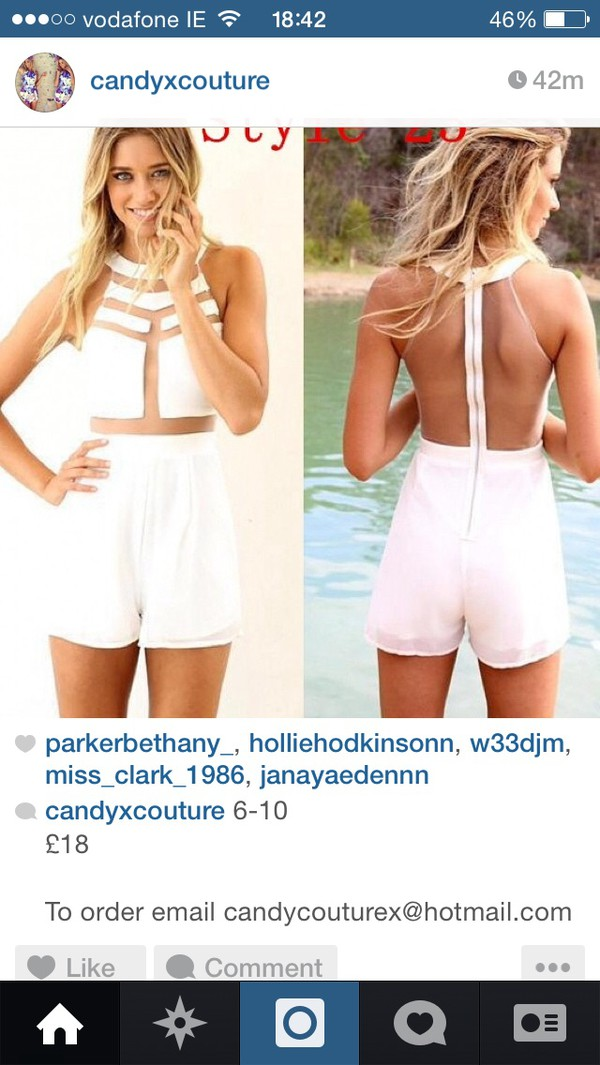 jumpsuit white mesh jumpsuit
