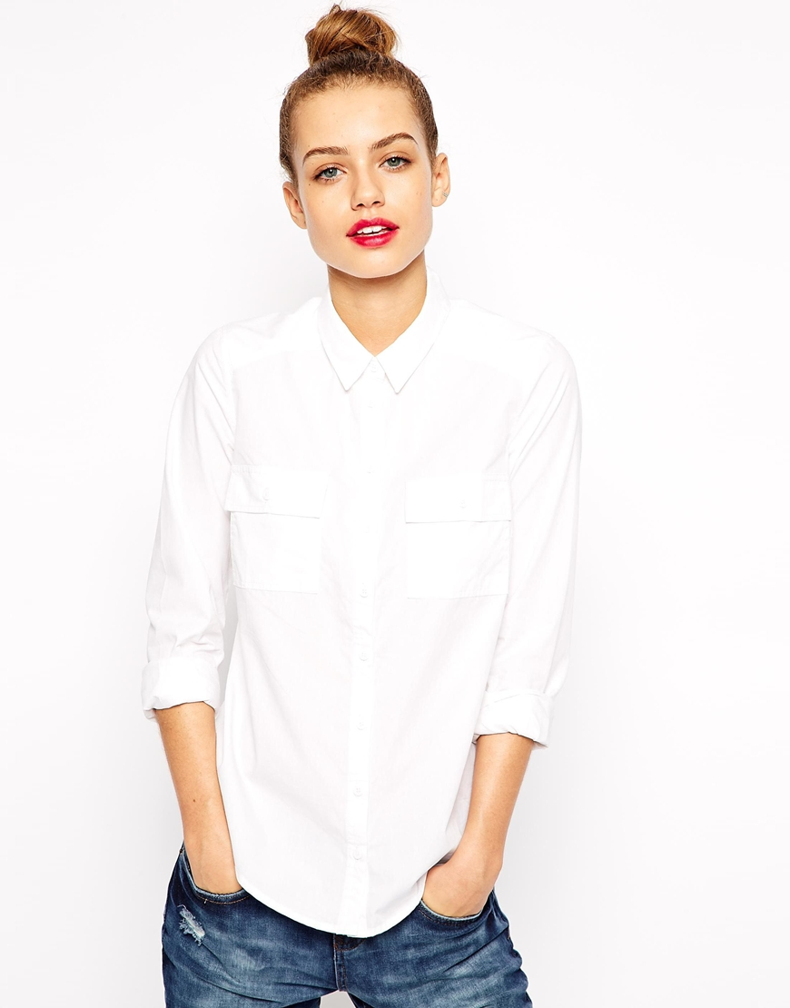 New look white cotton shirt at asos.com