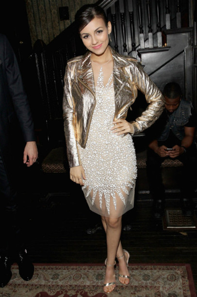 dress jacket metallic sandals gown victoria justice gold leather jacket white dress see through see through dress celebrity style celebrity