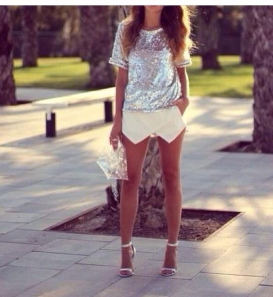skirt white skirt white skirt skirt pants silver silver crop top silver top crop tops tank top top shirt
