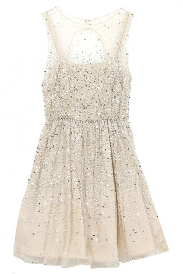 dress sparkling dress glitter light glitter dress pretty girly ball prom short silver beige weddings white