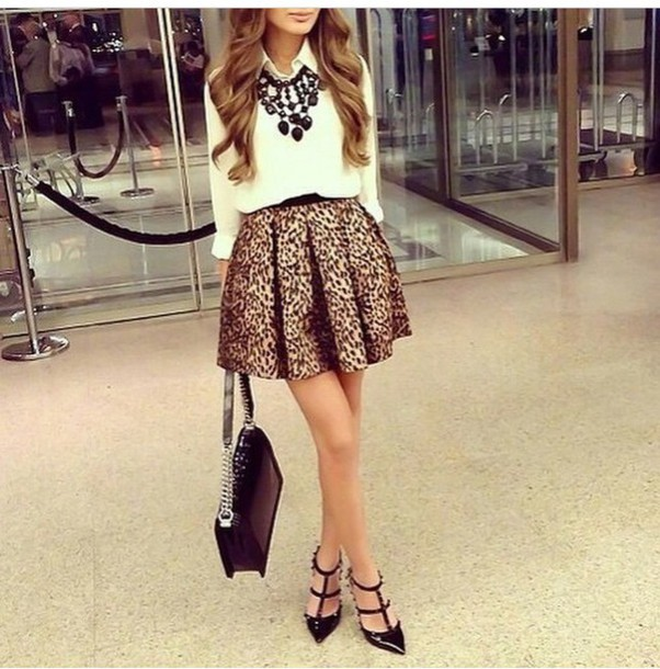 Leopard Print Skater Skirt March 2017