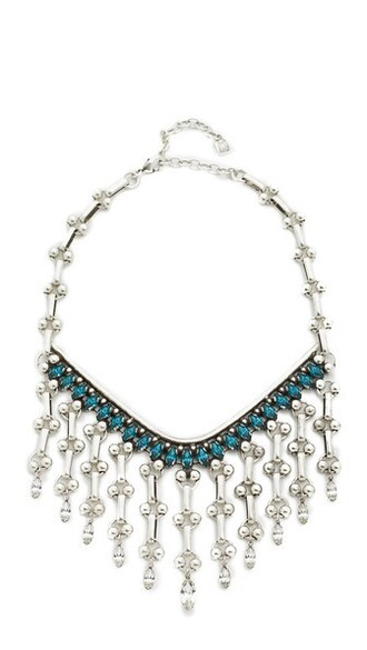 clear necklace silver blue jewels