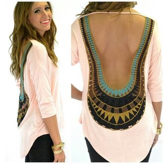 shirt white open back pattern open back blouse backless egyptian boho bohemian top
