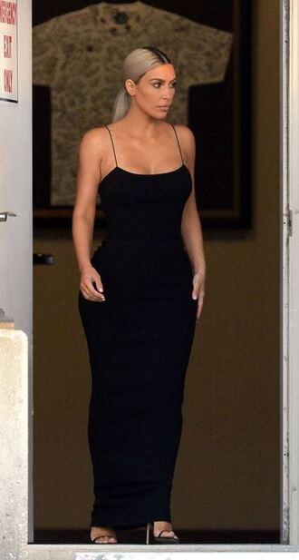 dress black dress maxi dress black kim kardashian kardashians bodycon dress gown
