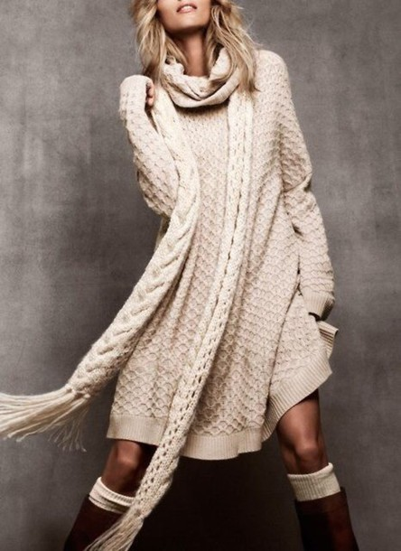 Sweater: cream, long, knit, sweater dress, knitted dress, texture ...