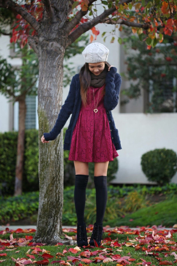 tights winter outfits burgundy knee high socks jacket scarf