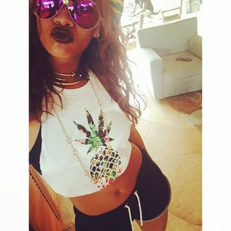tank top celebrity style celebrity t-shirt bad gal riri rihanna style 420 pineapple print pineapple tank spring outfits spring trendy ririr fashion black lips black lip stick top weed weed shirt stoner canabis floral tank top florsl white t-shirt white top shorts