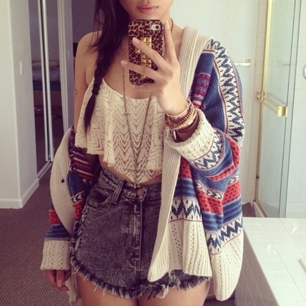jacket indie hippie cardigan cute cool colorful blouse