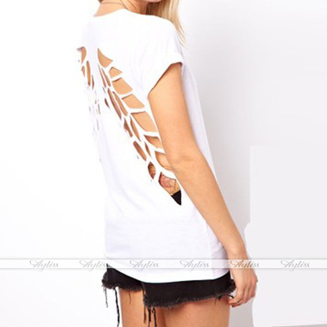 Women Fashion Punk Open Back Hollow Back Wing Cut Out Casual Blouse Tops T Shirt | eBay