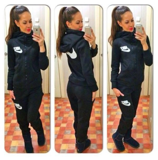 jumpsuit nike jogging suit black white nike