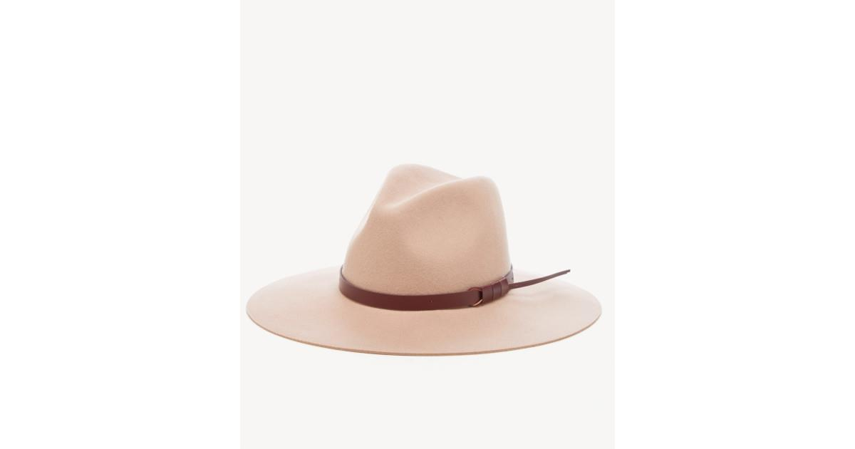 Wide Brim Hat w/ Faux Leather Band