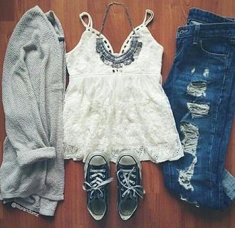 blouse grey sweater boho boho chic boho shirt converse ripped jeans
