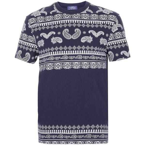 TOPMAN Navy Bandana Print T-Shirt
