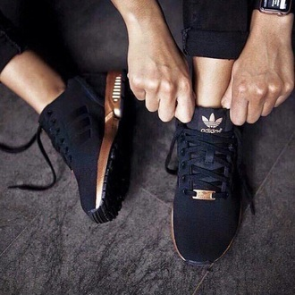 shoes sneakers adidas black gold trainers rose gold