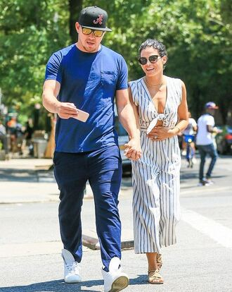 jumpsuit jenna dewan sandals sunglasses necklace ring summer outfits cropped jumpsuit striped jumpsuit black sunglasses channing tatum celebrity style celebrity flat sandals