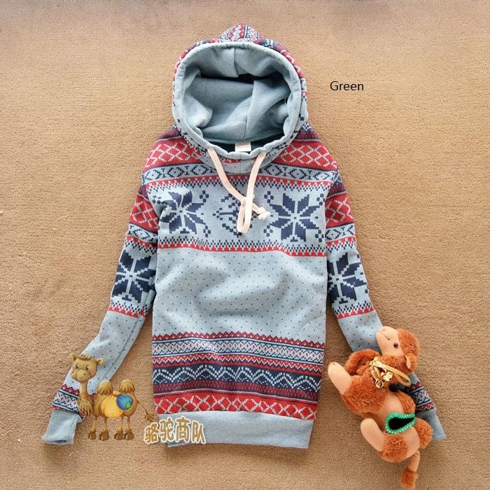 Womens Ladies Snowflake Flowers Cotton Hoodie Sweatshirt Top Coat US Size M IL13   eBay