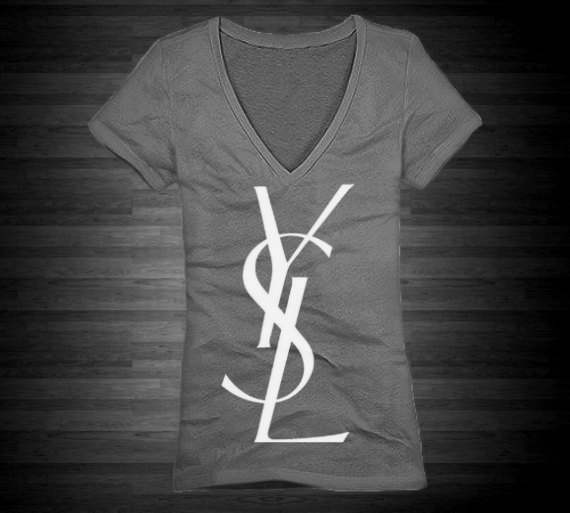 Ysl vneck tshirt for women in gray with white by fashioncoutureco
