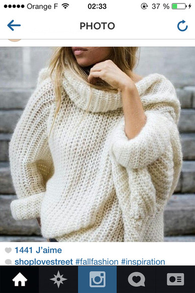 sweater laine white pullover swaeter