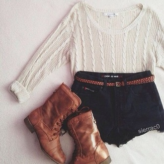 shirt white knit shirt shorts shoes belt cable knit sweater tight knit ivory