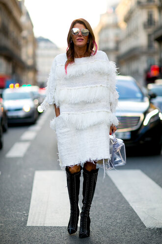 dress winter dress anna dello russo fashion week 2016 paris fashion week 2016 boots sunglasses streetstyle