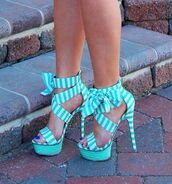 shoes,blue and white,high heel sandals,high heels,wooden heel,lace-up shoes
