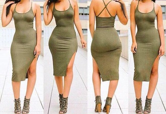 dress bodycon dress kaki olive green