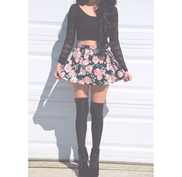 top cute summer skirt floral crop tops braid shoes underwear shirt socks flowers tights floral skirt lace top heels flowers skirt blouse