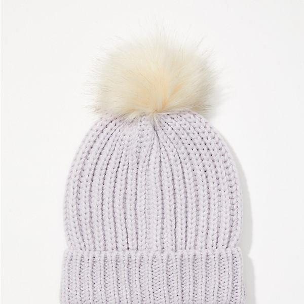 LOFT Ribbed Faux Fur Pom Pom Hat
