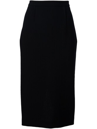 skirt pencil skirt women black wool