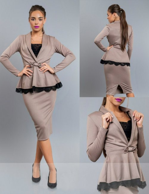 Tricot Peplum Top Pencil Skirt Suit Set