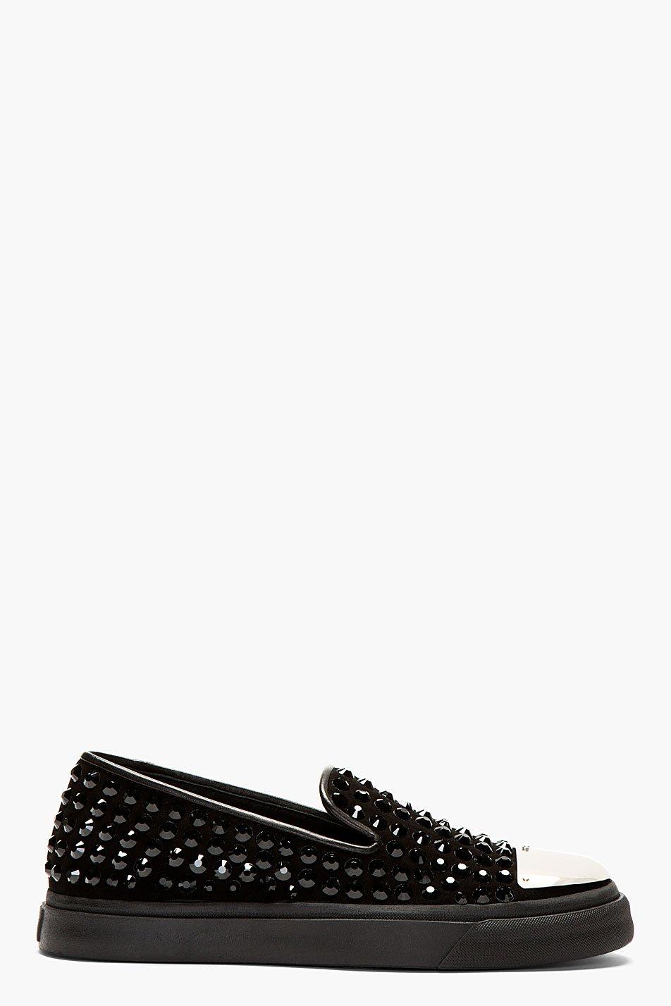Giuseppe zanotti black crystal stud capped slip on sneakers