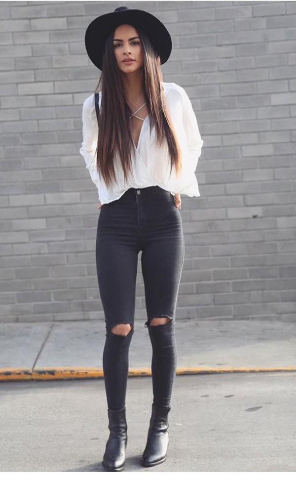 blouse white fashion outfit outfit idea fashion inspo jeans jeans black black jeans ripped ripped jeans ripped jeans black girl girl jeans t-shirt hat pants beautiful casual knee ripped jeans skinny jeans shoes shirt grunge heels hipster pants