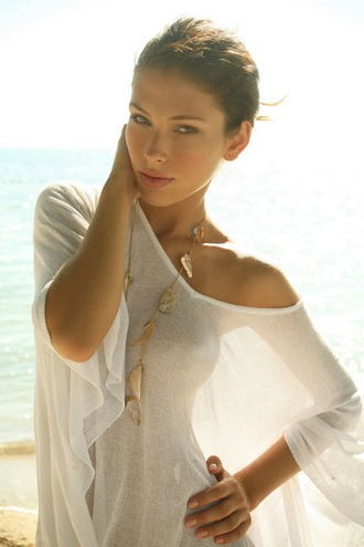 top shirt dress swimwear jewelry white gold beach summer jessica biel fashion cover up rash guard perfect elegant transparent sheer see through