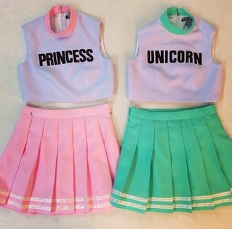 jumpsuit purple pink green princess unicorn cheerleading
