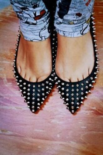 shoes studded shoes pointy ballet flats