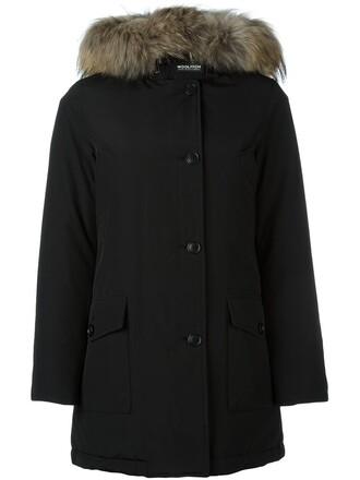 coat fur collar coat fur women cotton black