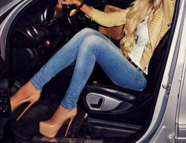 jacket jeans high heels leather jacket shoes