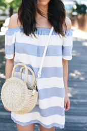 dress,tumblr,mini dress,stripes,striped dress,bag,round bag,crossbody bag,off the shoulder,off the shoulder dress